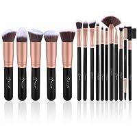 Set de brochas de maquillaje profesional BESTOPE 16 piezas Pinceles de maquillaje Set Premium Synthetic Foundation Brush Blending Face Powder Blush Concealers Kit de pinceles (Rose Golden)
