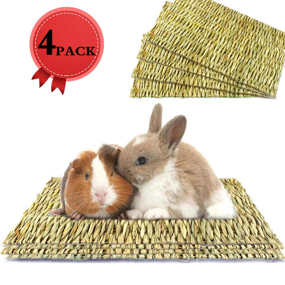 THINKPRICE Natural Straw Grass Mat Woven Bed Mat for Small Animal Bunny Bedding Nest Chew Toy Bed Play Toy for Guinea Pig Parrot Rabbit Bunny Hamster Rat Ferret Chinchillas Fancy Gerbil