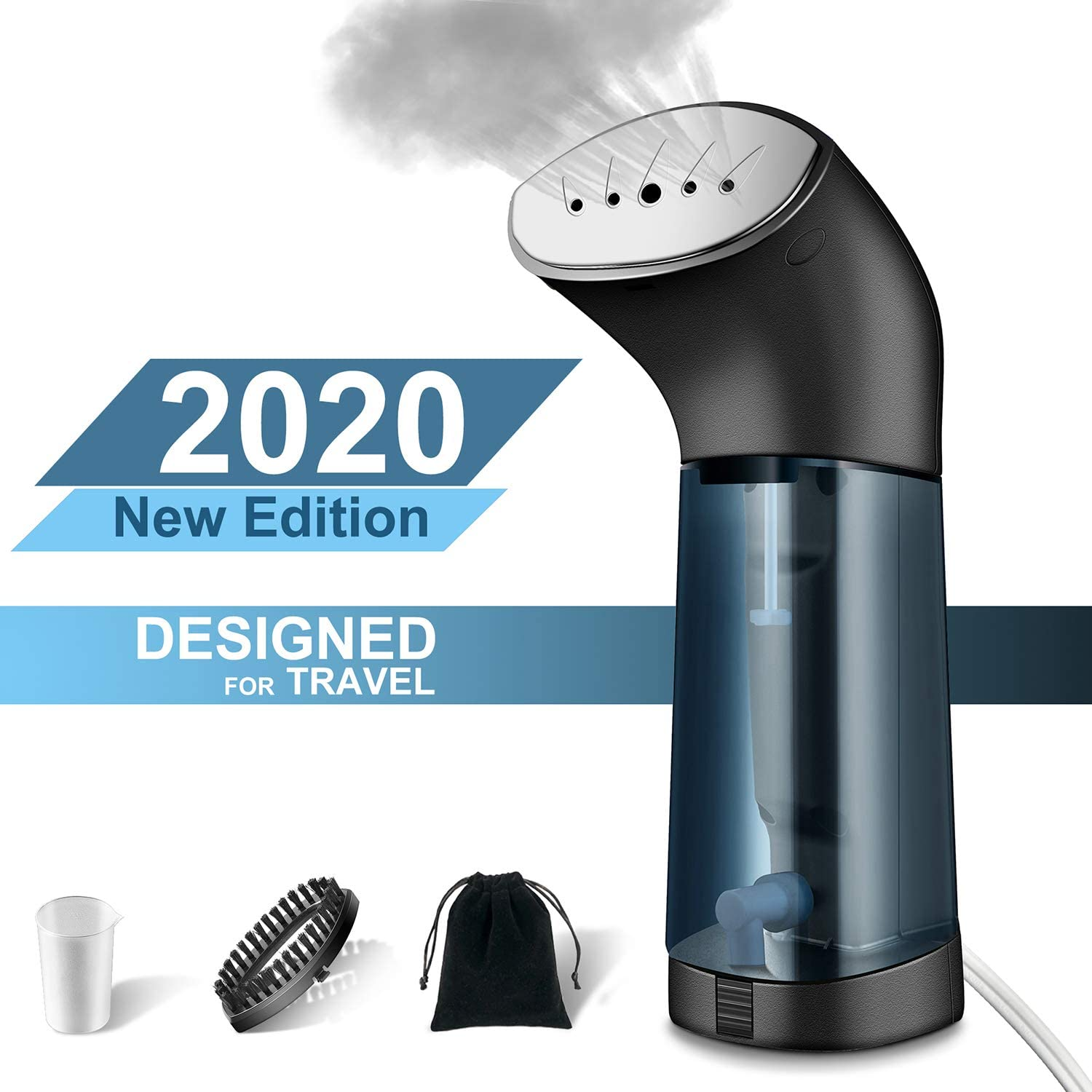 M-MASTER Portable Travel Steamer for Clothes Mini Fabric Steamer (Black) - Fast-Heating, Ergonomic Handheld Design with Easy-Fill Water Tank for 10 Minutes for All Kind of Garments. Home/Travel.