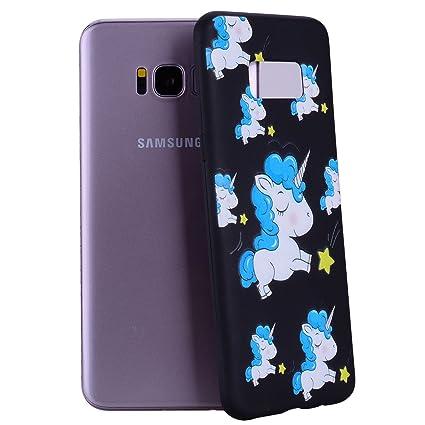 Funda Compatible para Samsung Galaxy S8 Plus Yunbaozi Embossing Case Carcasa Suave Impresión 3D Caucho TPU Flexible Cáscara Delgado Ligero Alivio ...