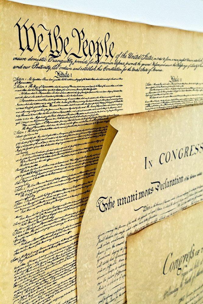 Erklärung der Unabhängigkeit 16 x 14, Verfassung der USA 18,5 x 12,5, Bill of Rights 16 x 14 Poster