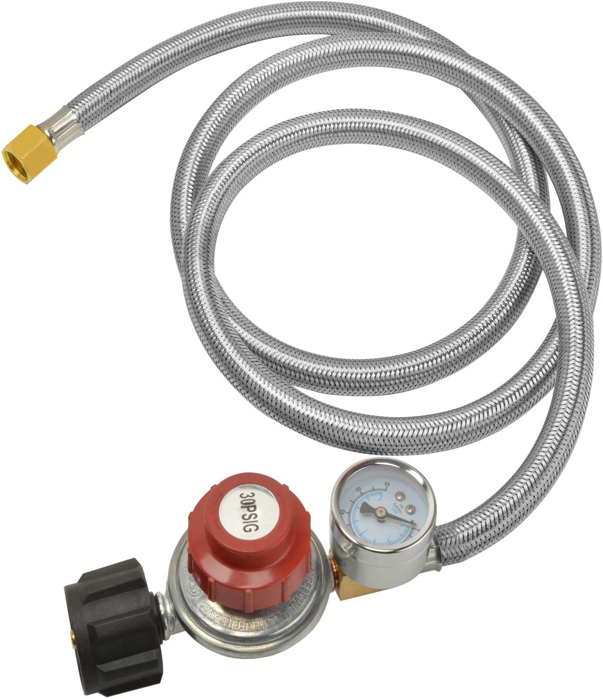 only 5Ft 0-30PSI Adjustable Propane Regulator Stainless Steel Braided Hose QCC/Type 1 Connection with Gauge for Grills, Burners, Heaters, Cookers, Fire Pits and More