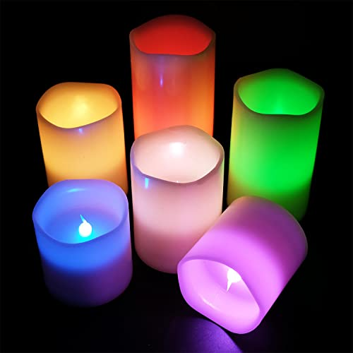 Eldnacele Flameless Color Changing Candles Set of 6 H3 4 5 6 X D3 , Multi Colored Real Wax Battery Operated LED Candles Melted Edges with Remote and Timer for Christmas
