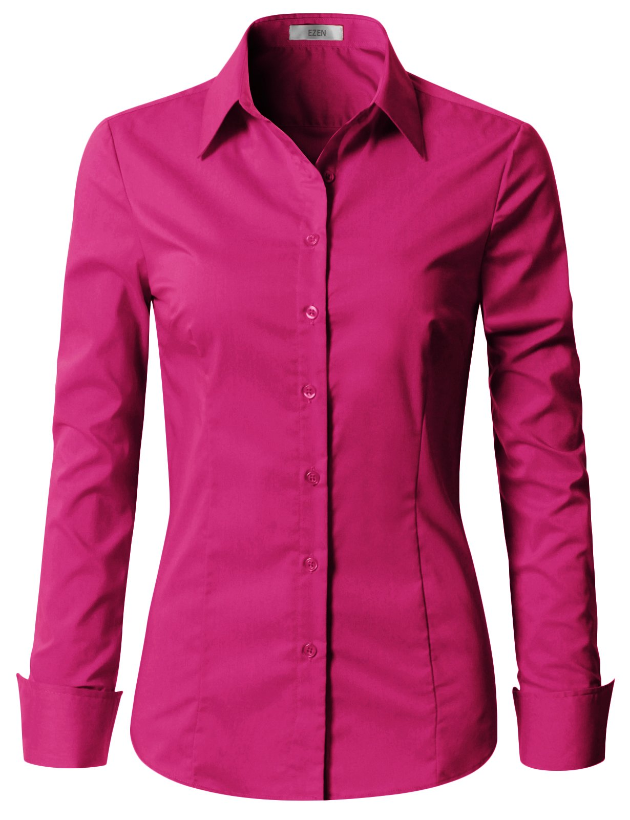 EZEN Womens Casual Slim fit Button Down Shirts DEEP Pink X-Large