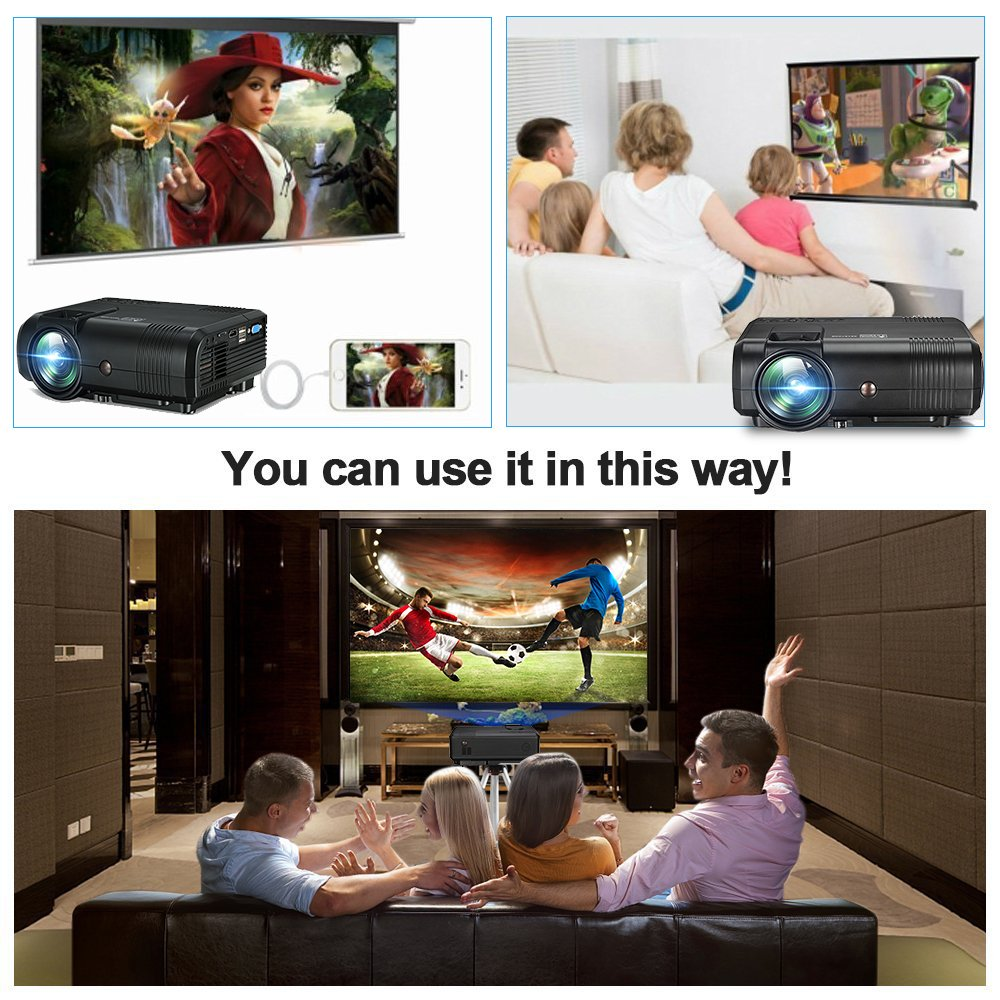Projector, Weton 2200 Lumens Video Projector 1080P Portable Mini Projector Multimedia LED Projector Home Theater Movie Projector Support HDMI, USB, VGA, AV for IOS Android Smartphone (Plug and Play) by Weton (Image #9)