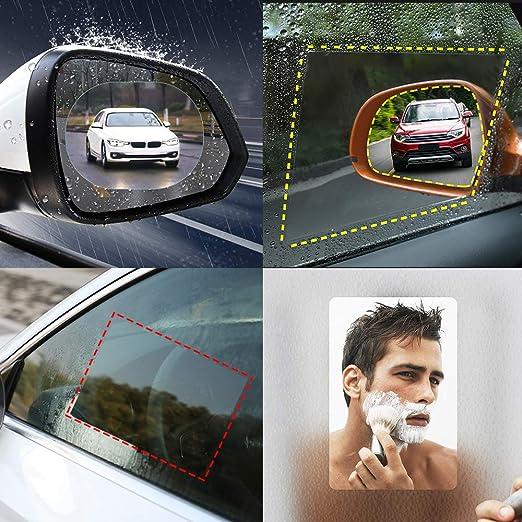 Film retroviseur Anti Pluie Film Impermeable retroviseur,360 R/églable Vision HD Nano Protecteur Clair Autocollant pour R/étroviseurs et Vitres Lat/érales de Voiture RIIMUHIR 8 Pi/èces Film retroviseur