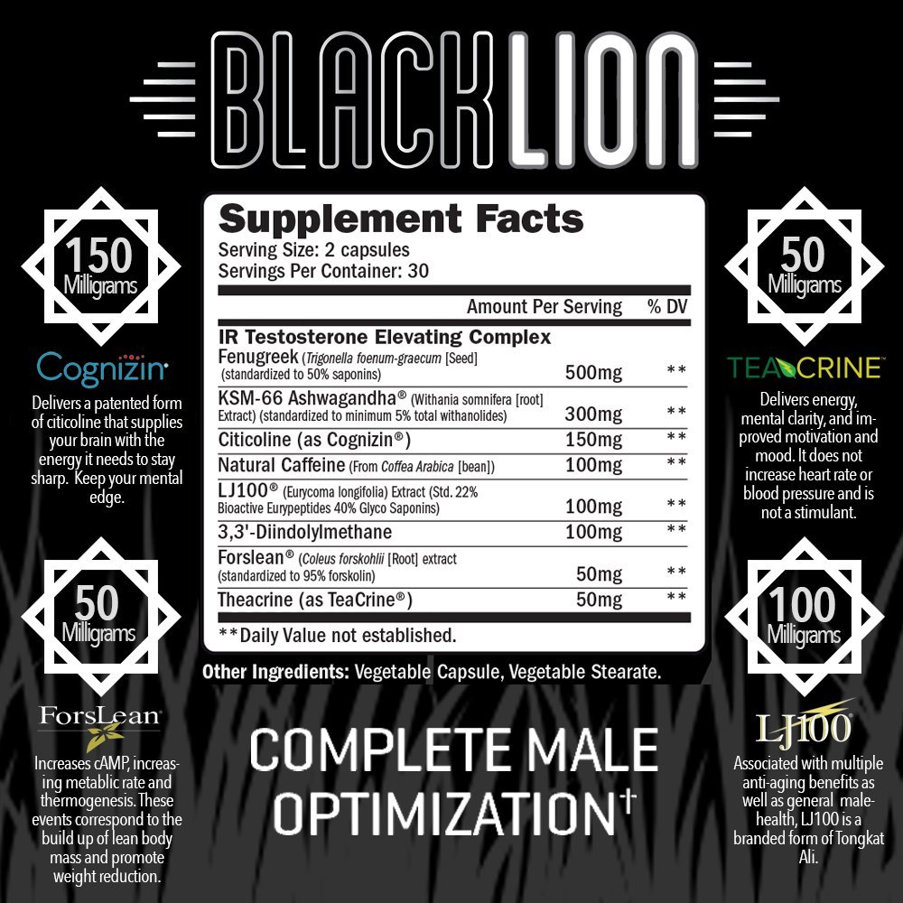 RAW Synergies Black Lion Thermogenic Test Booster and Fat Burner for Men, Natural Brain Supplement and Estrogen Blocker with DIM and Pure Forskolin for Weight Loss and Muscle Building, 60 sv