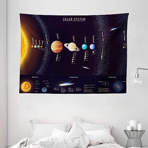 Ambesonne Outer Space Tapestry, Solar System Scientific Information Jupiter Saturn Universe Telescope Print, Wide Wall Hanging for Bedroom Living Room Dorm, 80 X 60 , Black Orange