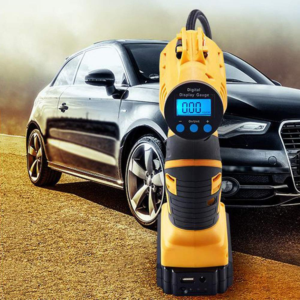 MOIAK Tyre Inflator Pump Cordless Handheld Air Compressor with Digital Pressure Gauge LCD Display Built in LED Light one Size Extra Nozzle Valve Adaptors