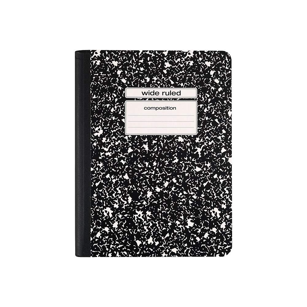 Staples 2072496 Notebook 9.75-Inch x 7.5-Inch Wide Ruled 100 Sh. Black 48/CT by STAPLES