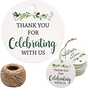 Thank You for Celebrating with Us Tags, 100Pcs Greenery Thank You Tags for Wedding Birthday Baby Shower Party Favors, Paper Gift Tags with 100 Feet Jute String