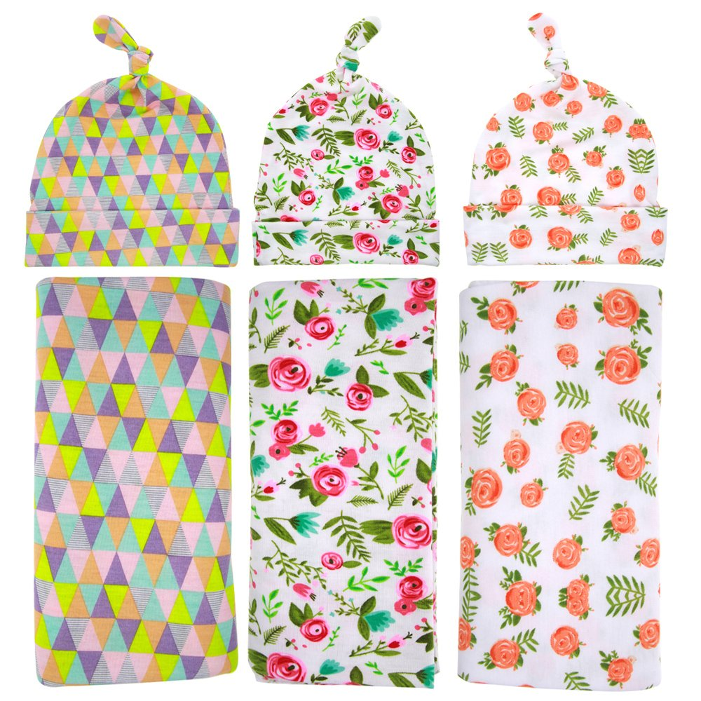 Babe Maps Baby Cotton Flower Swaddle Blanket Hat Receiving Blankets Set