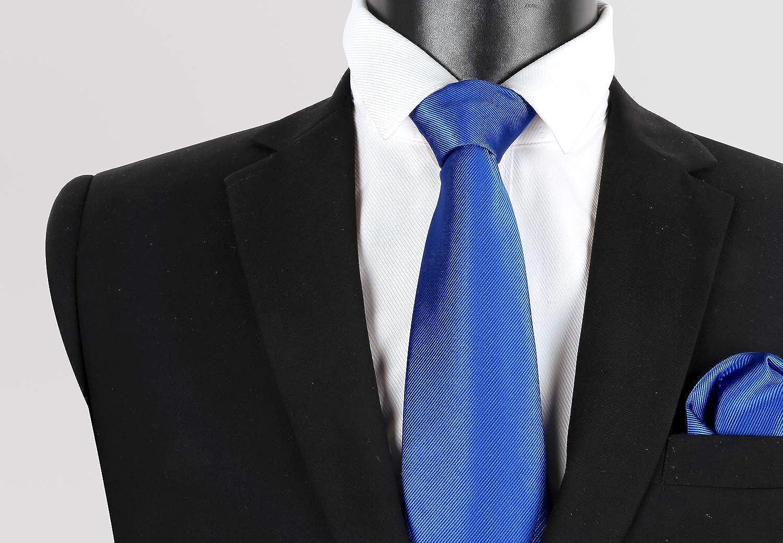Alizeal Conjunto de Corbata, Pañuelo de Bolsillo y Gemelos de Color Sólido para Hombre