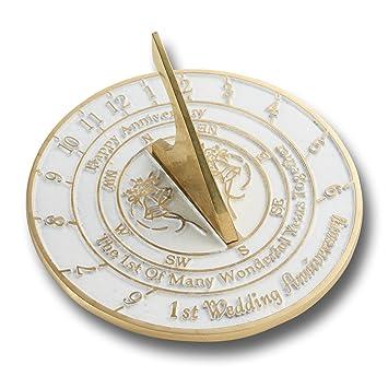 Reloj de sol inglés hecho a mano con versiones de plata, perla, rubí u oro, ideal para aniversario de boda, metal, 1st Anniversary: Amazon.es: Hogar