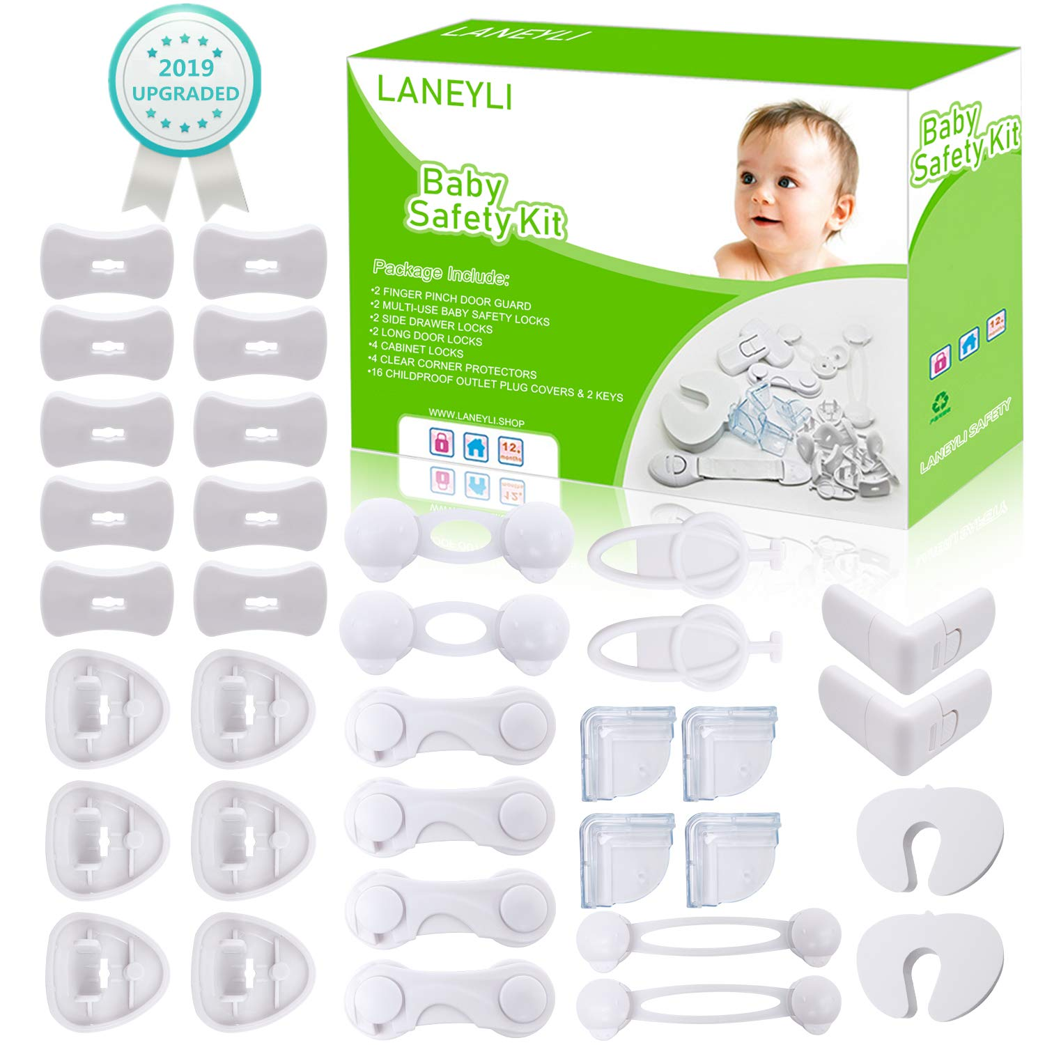Baby Safety Kit LANEYLI Proofing Kit with Door and Cabinet Locks, Drawer Locks, Multi-use Safety Locks, Clear Corner Protectors, Outlet Covers Accident Proof Devices Tools Free No Drill Required 34Pcs