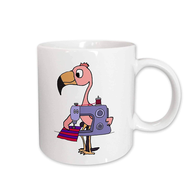 3dRose Taza 275744_1 Funny Cute Pink Flamingo utilizando máquina ...