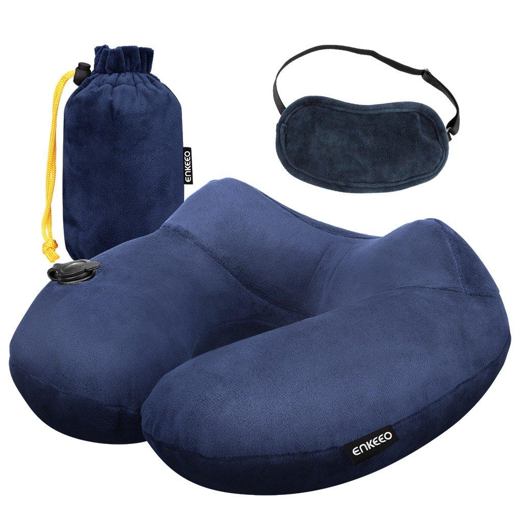 Enkeeo Almohada cervical hinchable almohada de viaje inflable diseño ergonómico cubierta desmontable