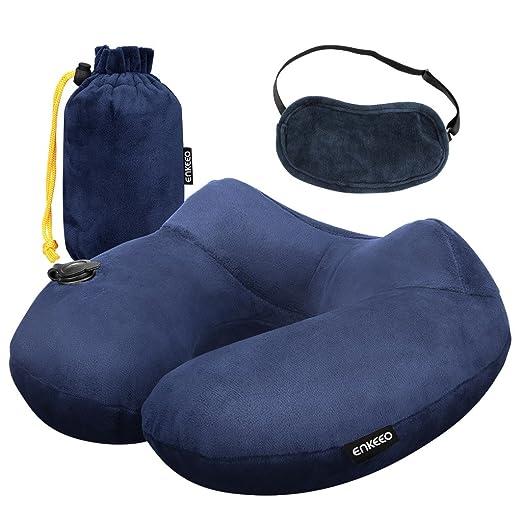 Enkeeo - Almohada cervical hinchable, almohada de viaje inflable (diseño ergonómico, cubierta desmontable de terciopelo suave, bolsa de transporte, ...