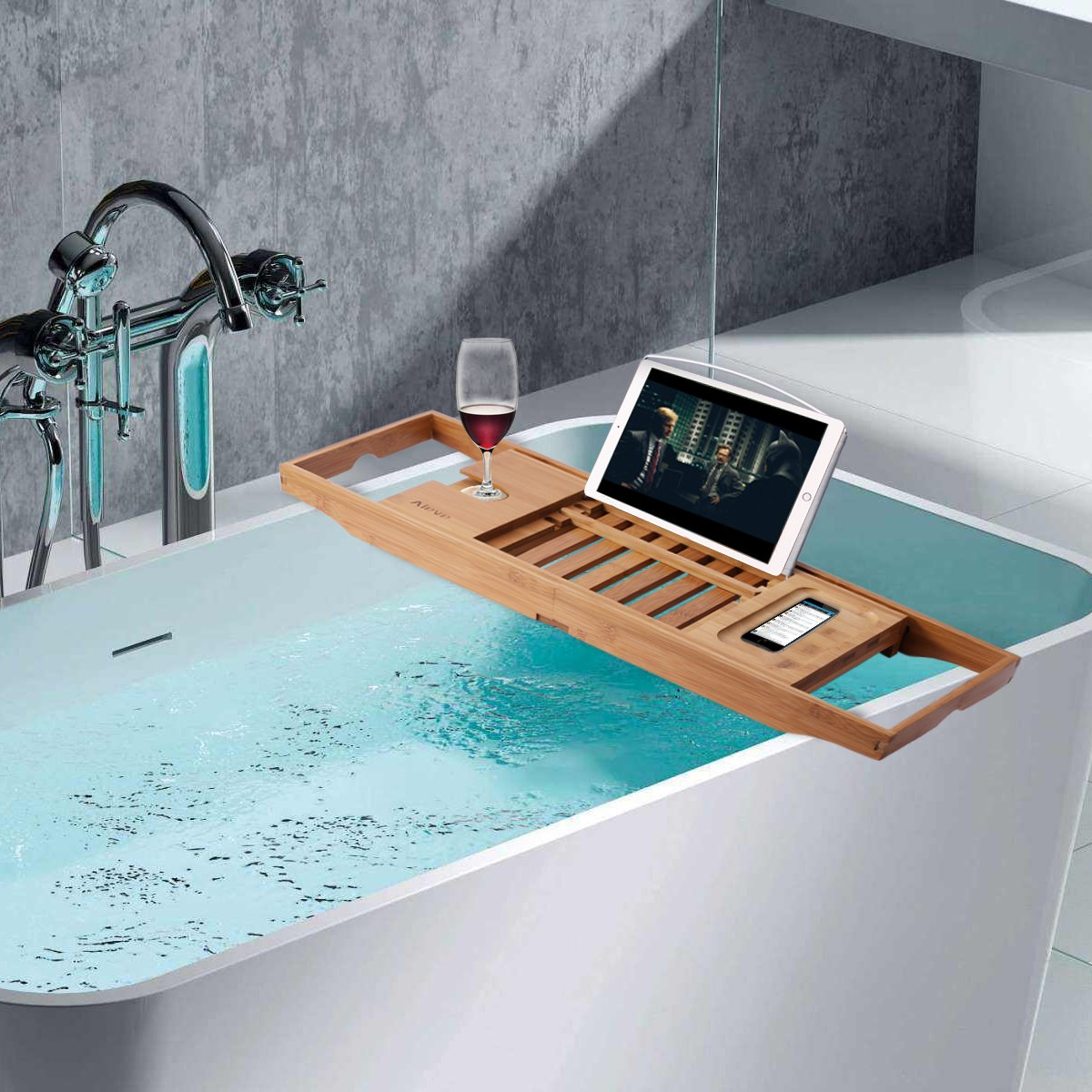 Bathtub Tray and Bath Pillow,Bamboo Bathtub Caddy Tray Bath Tray for Tub with Wine Glass Holder and Book Holder and Spa Bath Pillow with Suction Cups for Head and Neck Support by Aieve (Image #7)