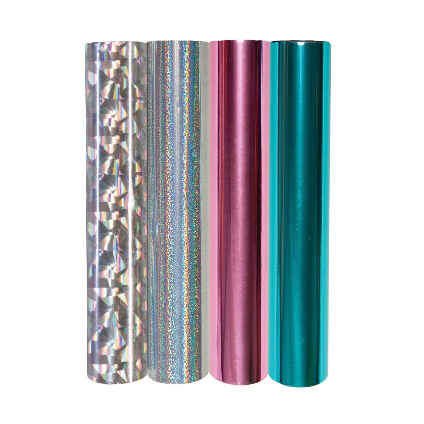 Spellbinders GLF-012 4 Metallic & Holographic Variety Pack Glimmer Hot Foil Roll, Multi