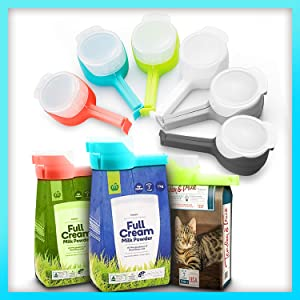 DyrvnaDI 6PCS Bag Clips for Food,Storage Sealing Clips with Pour Spouts, Kitchen Chip Bag Clips, Plastic Cap Sealer Clips, Food Storage, Great for Kitchen Food Storage and Organization.