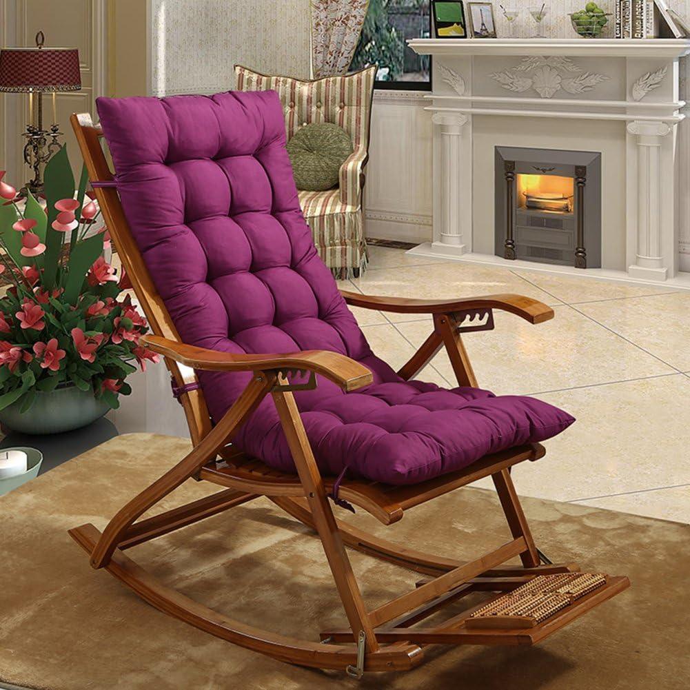 YEARLY Rocking Chair Cushions, Lounge Chair Cushions Thicken Lengthen Folding Wicker Chair Pads Patio Furniture Overstuffed Bench Cushion-Purple 48x125cm(19x49inch)