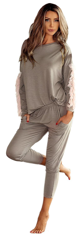 PIGEON Lingerie Hochwertiger und Trendiger Schlafanzug Damen Pyjama Hausanzug aus Langer Hose und langarmem Oberteil in Geschenkbox (P-544/2, P-567/2, P-497/3, P-541/1)
