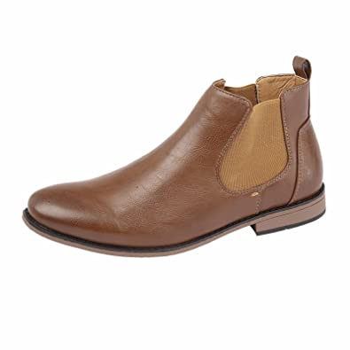 85b0a972b877 Mens Faux Leather Chelsea Boots Designer Smart Casual Desert Dealer Ankle  Shoes (UK 12 /