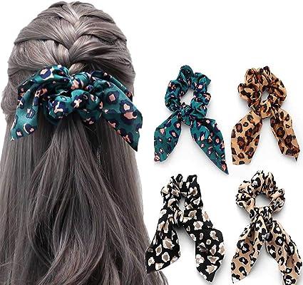 YKULEW 10 pezzi Scrunchies per capelli leopardati Velvet Elastico con stampa animalier Scrunchies Fasce per capelli Fasce per capelli per donne e ragazze Accessori per capelli 10 colori