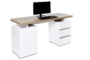 Movian bureau à 3 tiroirs et 1 porte blanc chêne riviera: amazon