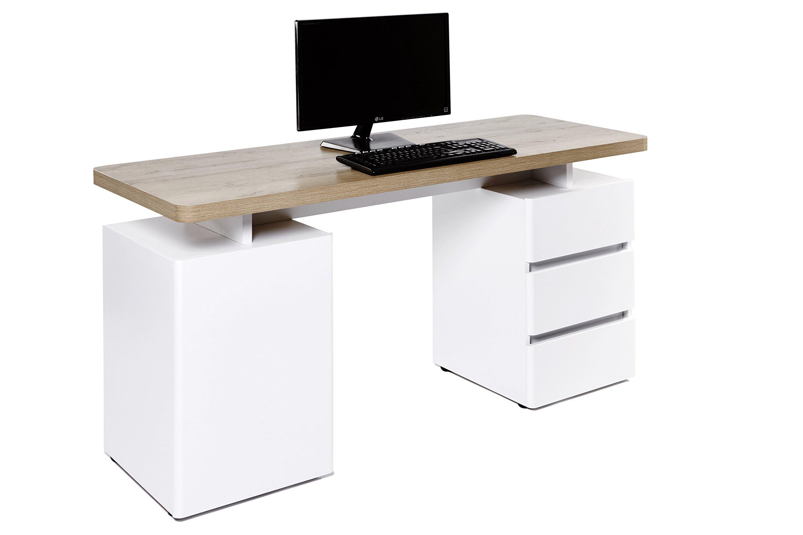 Amazon Brand -Movian Skadar 1-Door 3-Drawer Desk, 150 x 55 x 76cm, White/Light Brown Oak-Effect Top
