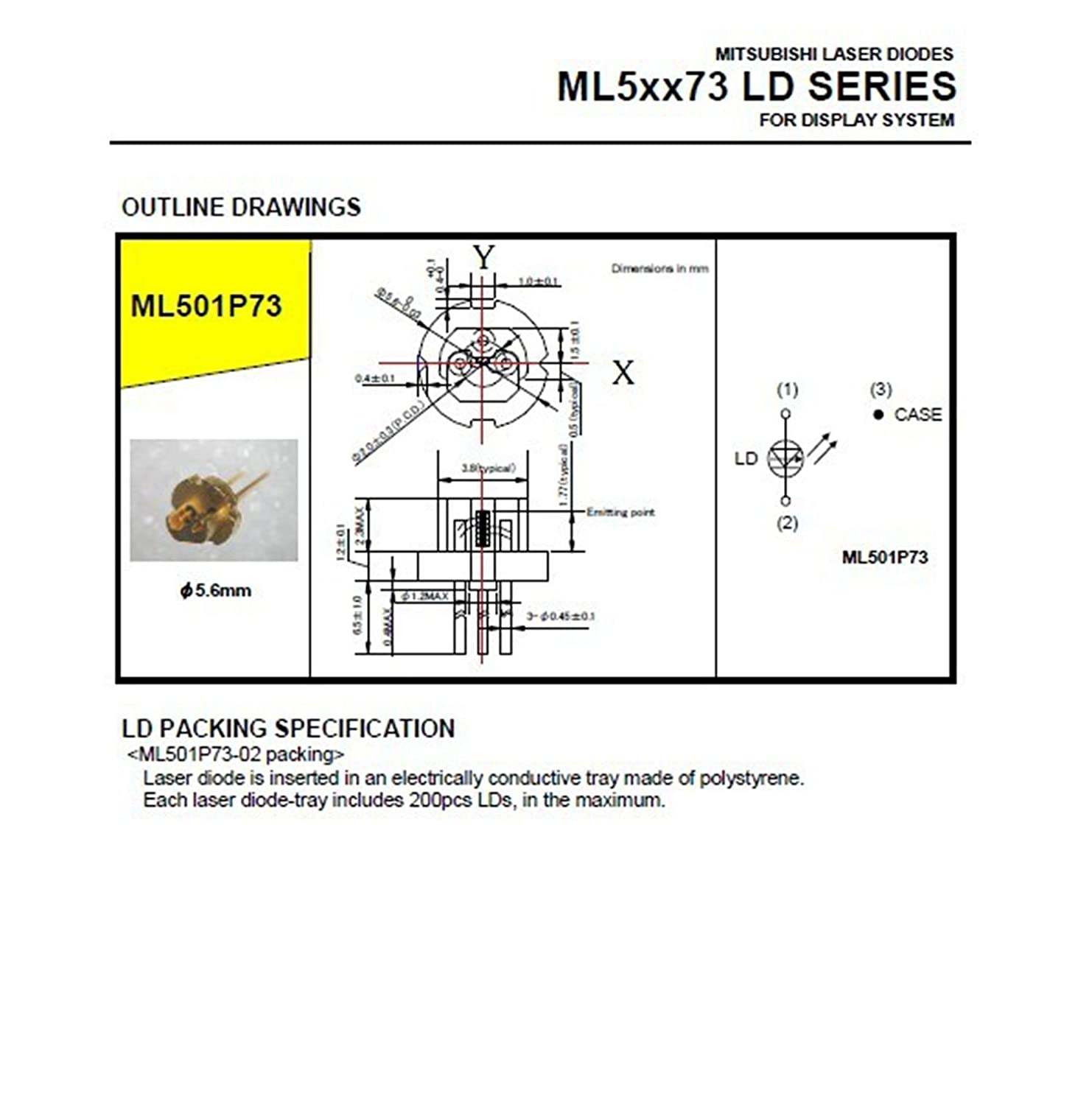 New Original Ml501p73 Pulse1000mw 638nm Red Laser Diode Diagram Highspeed Driver Industrial Scientific