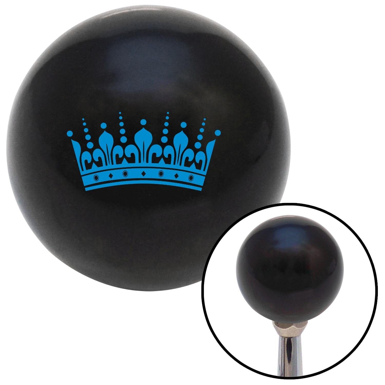 American Shifter 104624 Black Shift Knob with M16 x 1.5 Insert Blue Kings Crown