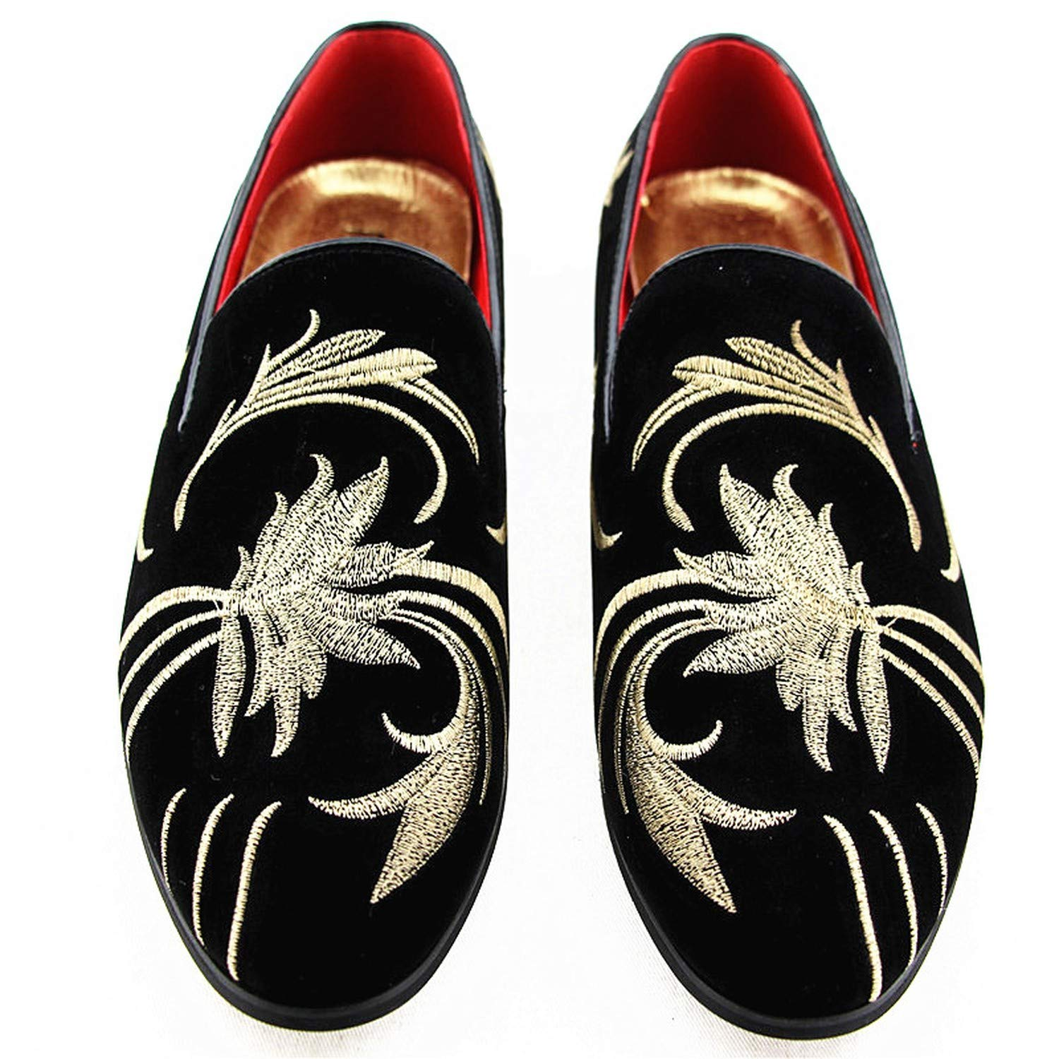 FJ-Direct Mens Fashion Suede Leather Embroidery Loafers Mens Casual Printed Moccasins Shoes Man Party Driving Flats Sizes 38-47,Model 1,10