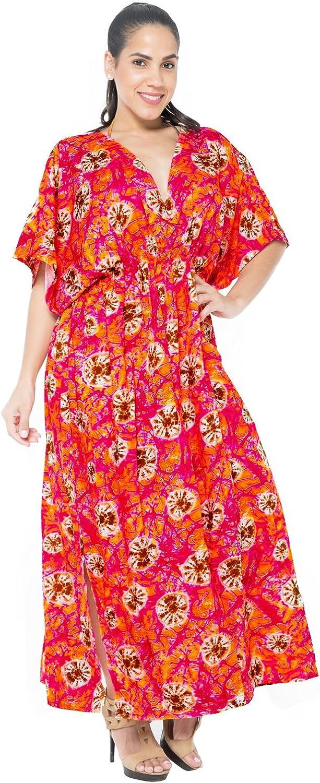 LA LEELA Boho Women Rayon Printed Kaftan Tunic Kimono Free Size Long Maxi Party Dress Loungewear Holidays Nightwear Beach Everyday Cover UP Top O