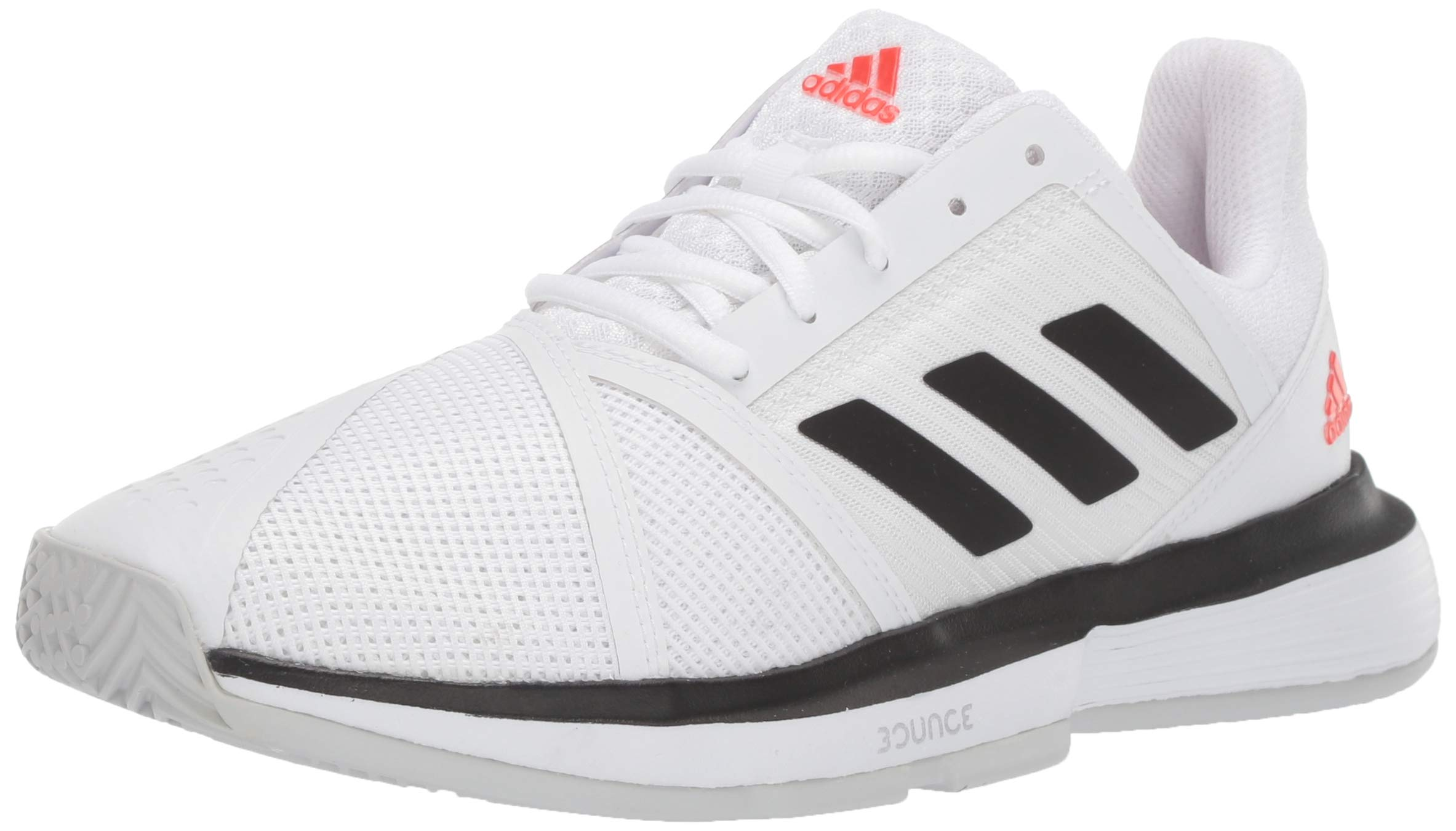 adidas Men's CourtJam Bounce Tennis Shoe, White/Black/Light Grey Heather, 6.5 M US