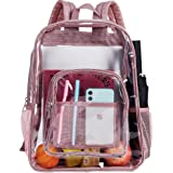 Clear Backpack, Transparent Backpacks Stadium Approved, Heavy Duty See Through Backpack - Pink