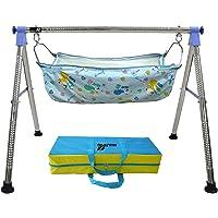 Multipro Indian Style Ghodiyu Born Baby Sleep Swing Cradle, Blue