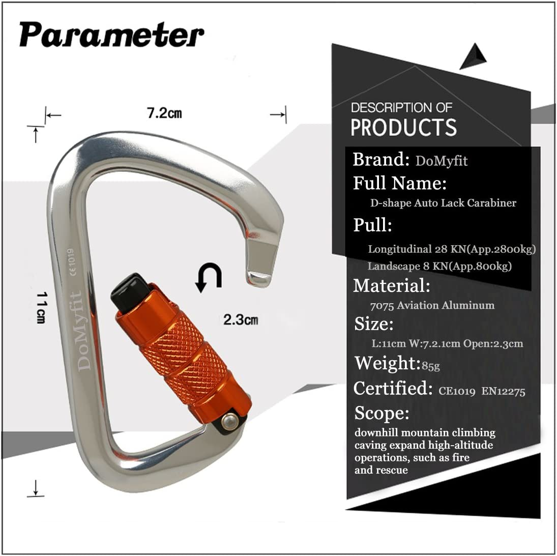 28KN Aluminum Alloy Screw Locking Carabiner D-Ring Hook for Rock Climbing Caving