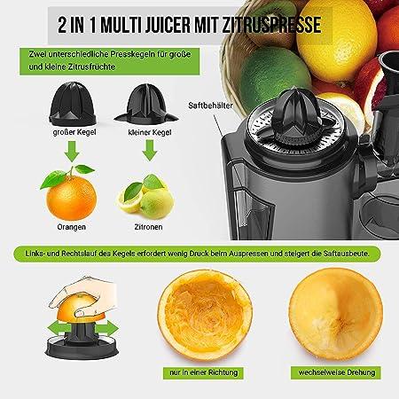 AUCMA Juicer lento con la función exprimidor de cítricos eléctrico, juguera multifunción con 2 velocidades, para frutas y verduras, exprimidor con la ...