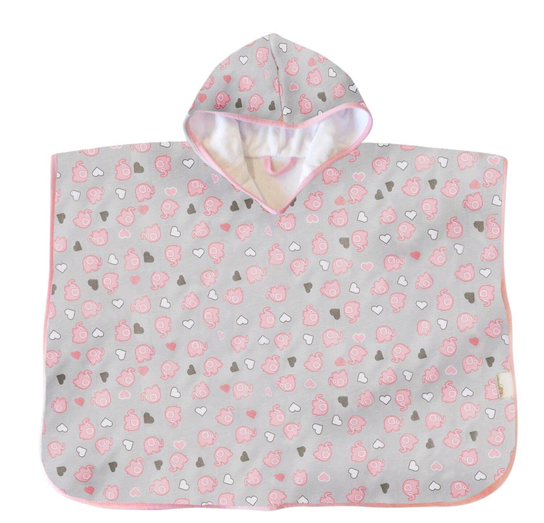Schlummersack kuschelig weicher Badeponcho mit Kapuze Elefanten pink//grau f/ür M/ädchen 1-3 Jahre