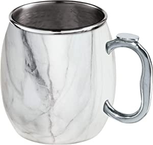 Oggi Stainless Steel Moscow Mule Mug - 20 oz, White Marble (9062)