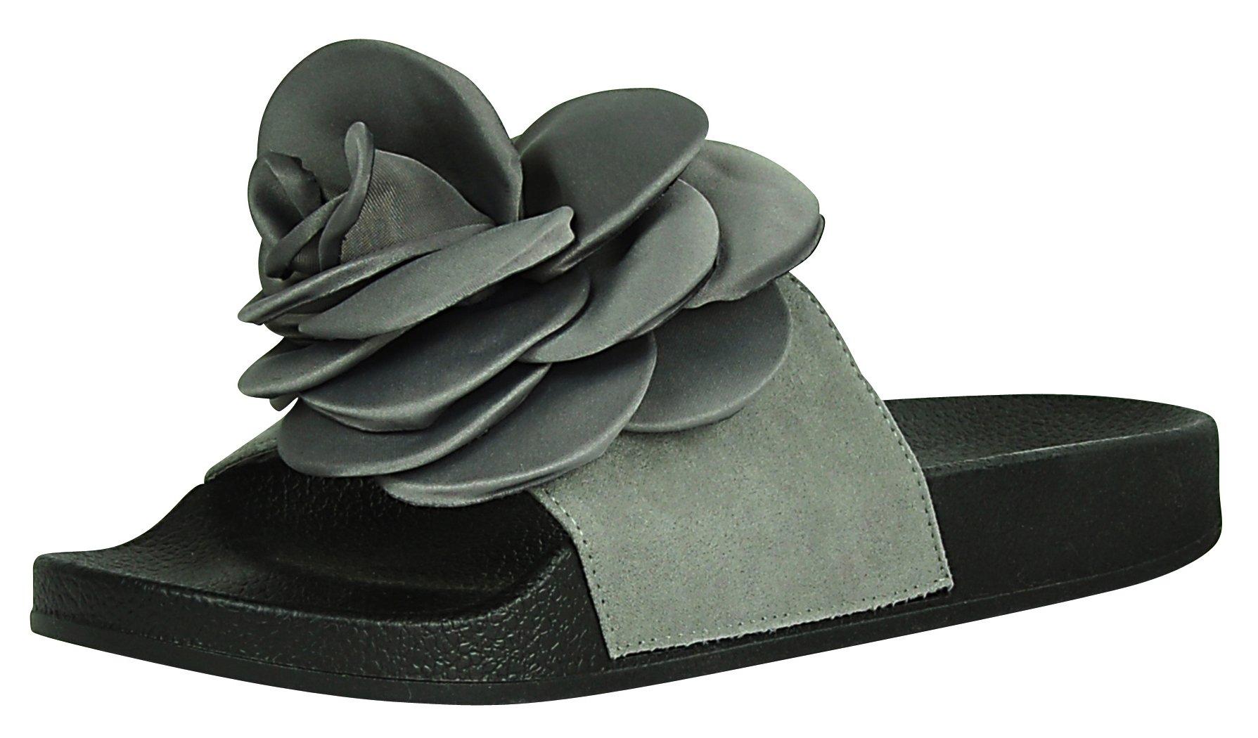 Cambridge Select Women's Open Toe Flower Rose Mixed Media Slip-On Flat Slide Sandal (8 B(M) US, Grey)