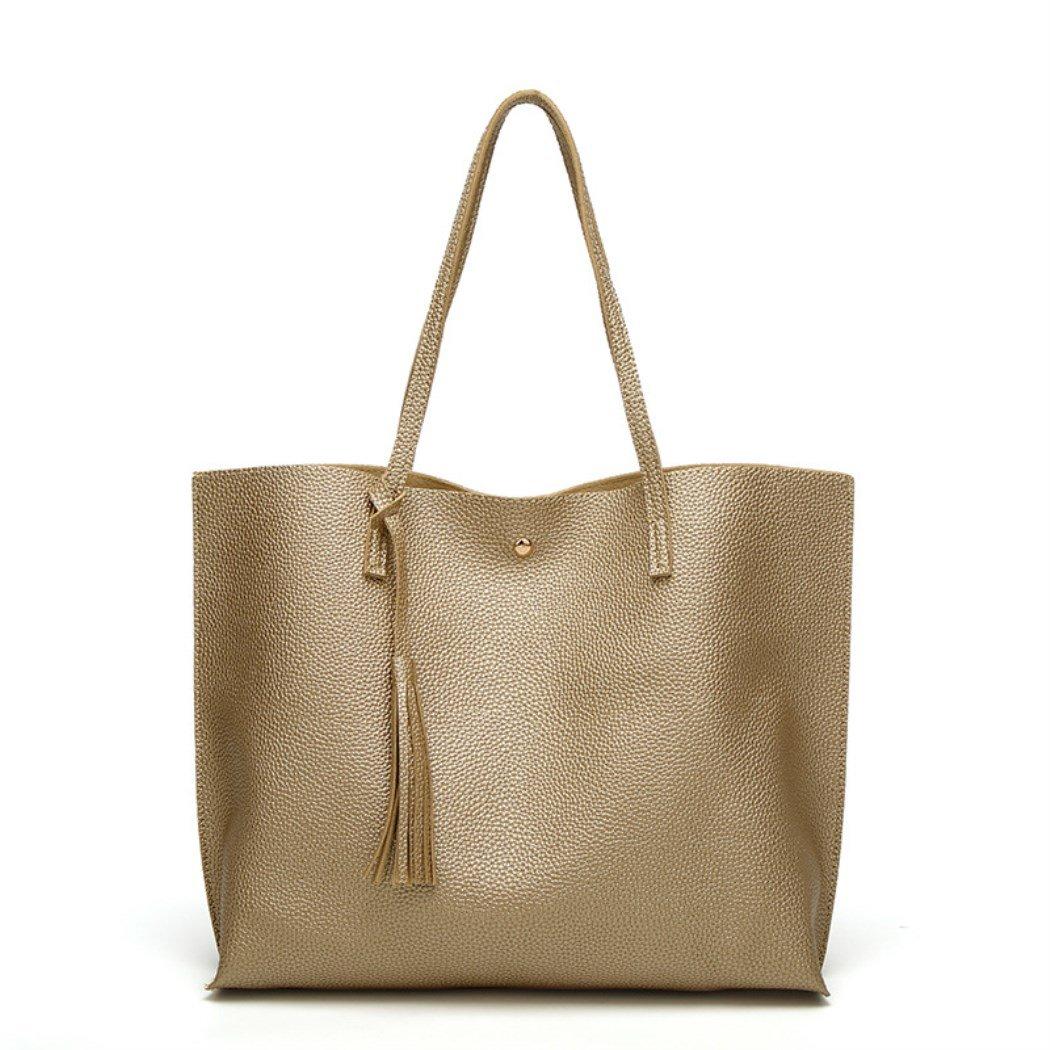 Nodykka Women Tote Bags Top Handle Satchel Handbags PU Pebbled Leather Tassel Shoulder Purse,One Size,Gold3