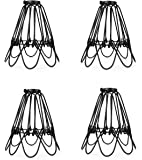 Industrial Metal Bird Cage Lamp Guard String Light Shade Open Close Flower Ceiling Hanging Pendant Island Lighting Vintage Bulb Wire Shading Steampunk Victorian Cover Lightshade Lampshade (4 Pack)