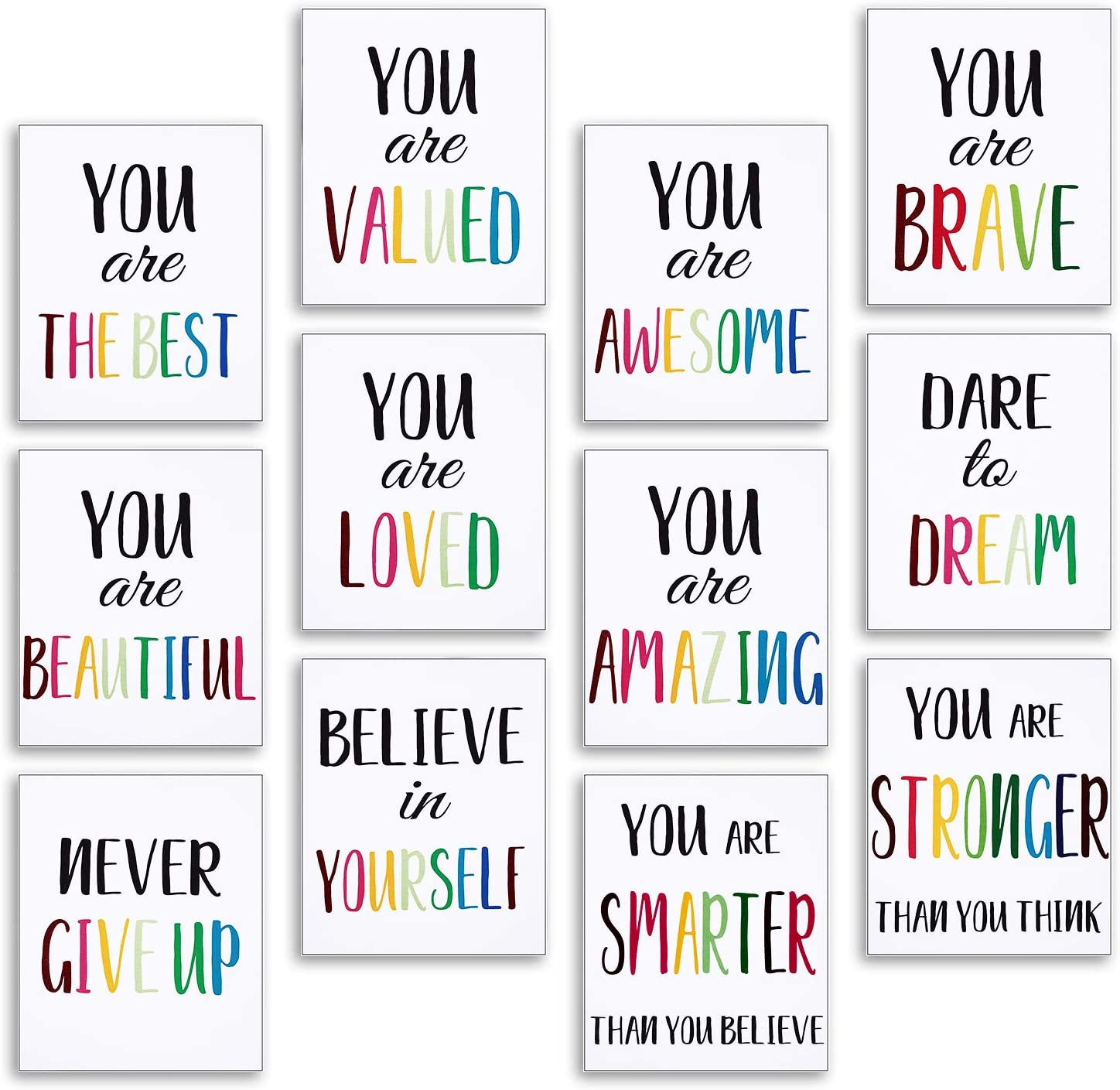 12 Pieces Inspirational Art Print Wall Poster Motivational Quote Watercolor Words Posters 8 x 10 Inch Unframed Canvas Saying Painting Posters for Kids Room Modern Decoration
