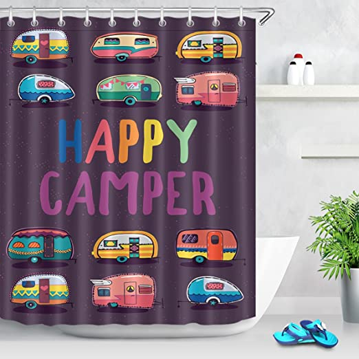 RZ Cortinas De Ducha De Arte Moderno Happy Camper Caravanas ...