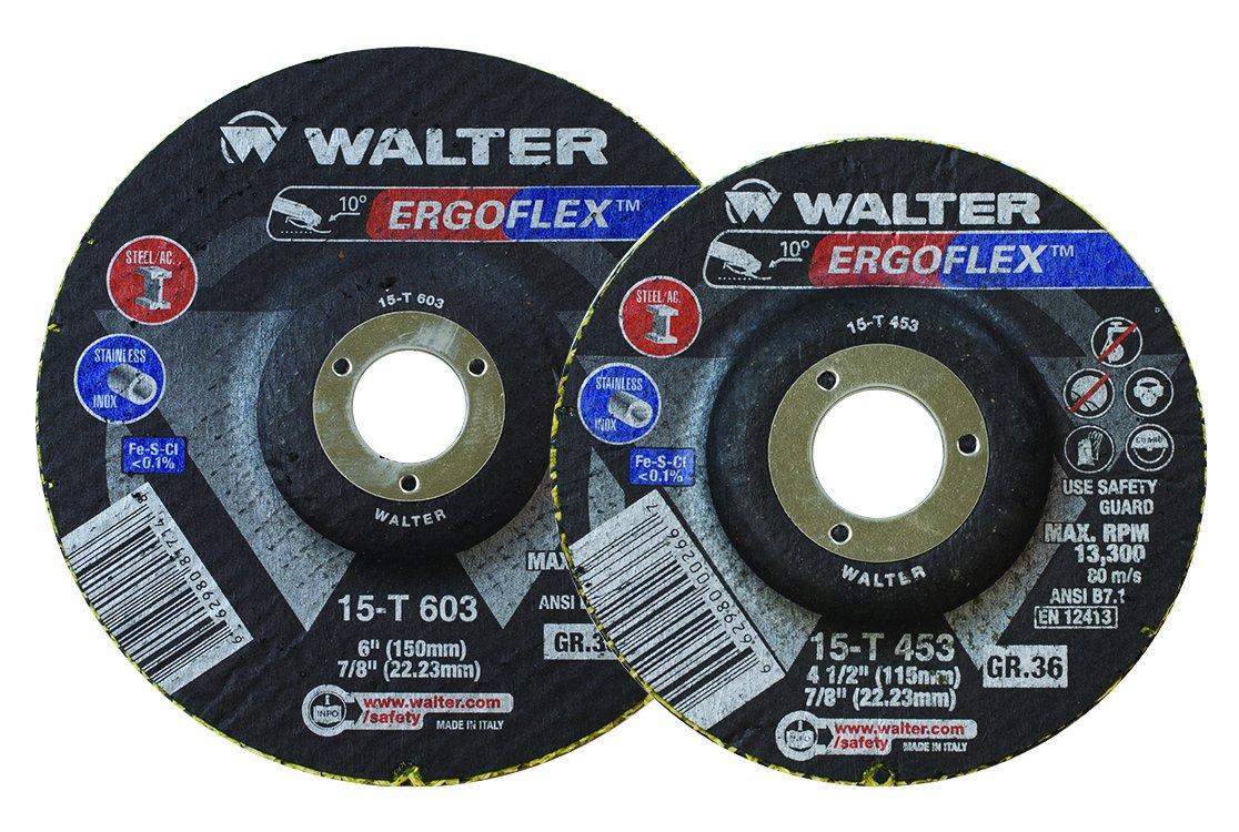 Walter Surface Technologies 15T703 ERGOFLEX Grinding Wheel, 7'' Diameter, 7/8'' Arbor, 36 Grit (Pack of 25)