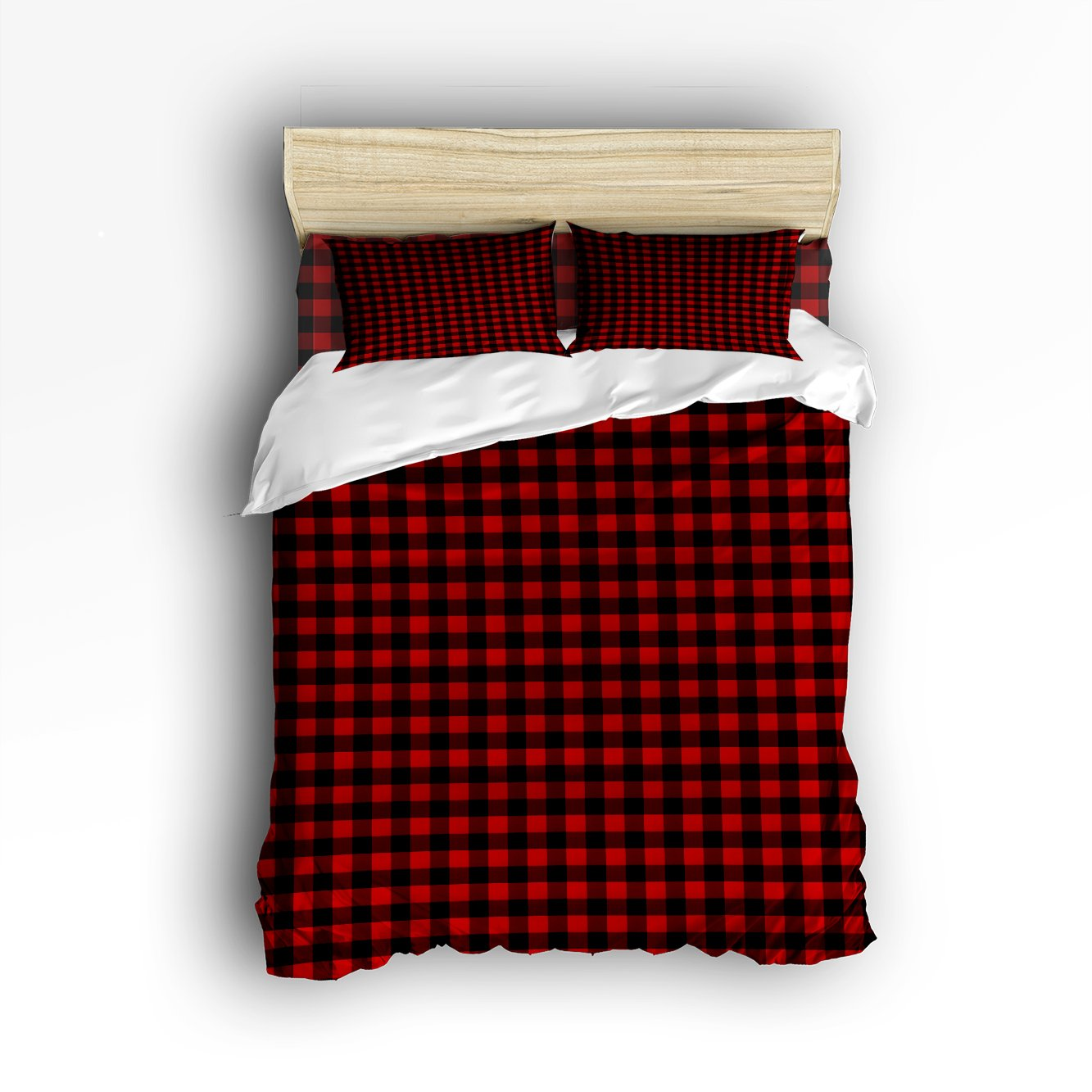 Beauty Decor Bedding 4 Piece bed Set Comfortable Soft Brushed Cotton,Rustic Red Black Buffalo Check Plaid Pattern 4 Piece Bed Sheet Set Duvet Cover Flat Sheet and 2 Pillow Cases