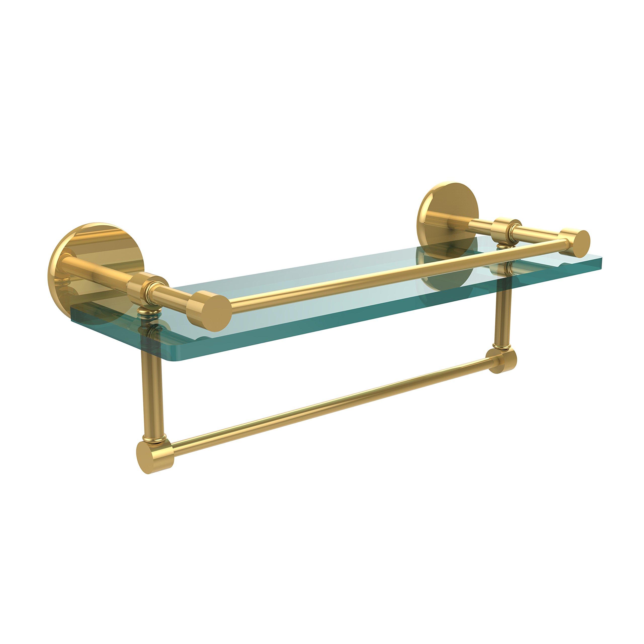 Allied Brass P1000-1TB/16-GAL-PB 16 Inch Gallery Glass Shelf with Towel Bar Polished Brass